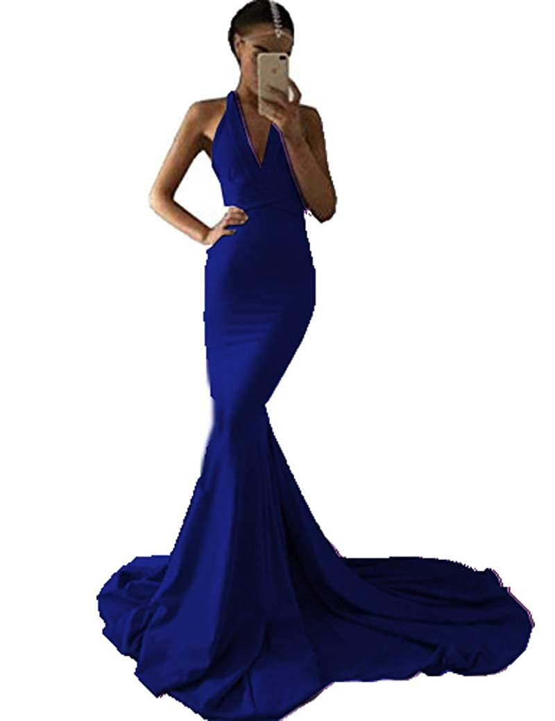 Navy bluee MariRobe Women's Deep V Neck Backless Evening Dress Spandex Mermaid Formal Party Dress Prom Gown 2019