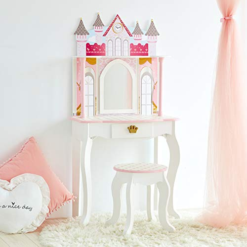 Teamson Kids - Dreamland Castle Kids Vanity, Wooden Vanity Table and Stool Set - White/Pink