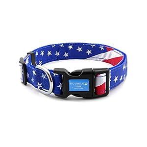 BIG SMILE PAW Dog Collar American Flag,Nylon Dog Collar Adjustable (L)