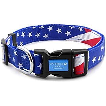 20bfbae29 BIG SMILE PAW Dog Collar American Flag,Nylon Dog Collar Adjustable (L)