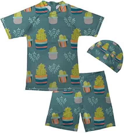 f7954ba9f4 Pensura Boy Two Pieces Swimsuit Set Cactus Print Swimwear Cute Rash Guard