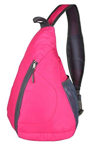 Dreubea Small Crossbody Chest Bag, Folding Sling Shoulder Backpack for Men Women Rose Red (Back Sling Folding)