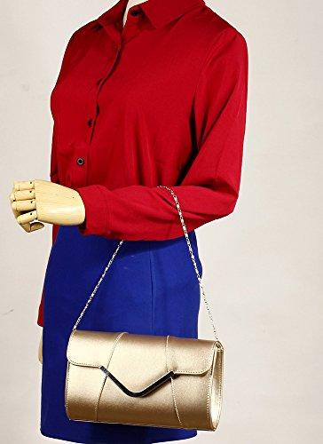 ANNA GRACE - Cartera de mano de piel sintética para mujer Design 2 - Gold
