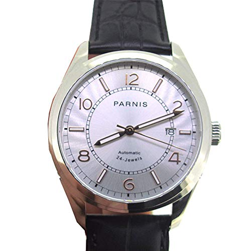 (Parnis 42mm White Dial Luminous Pointer Sapphire Glass 5ATM Water Resistance 24 Jewels NH36A Automatic Movement Men's Wrist Watch)