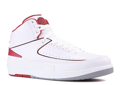 (NIKE Mens Air Jordan 2 Retro OG Colorway White/Black-Varsity Red-Cement Grey Leather Basketball Shoes Size 11.5)
