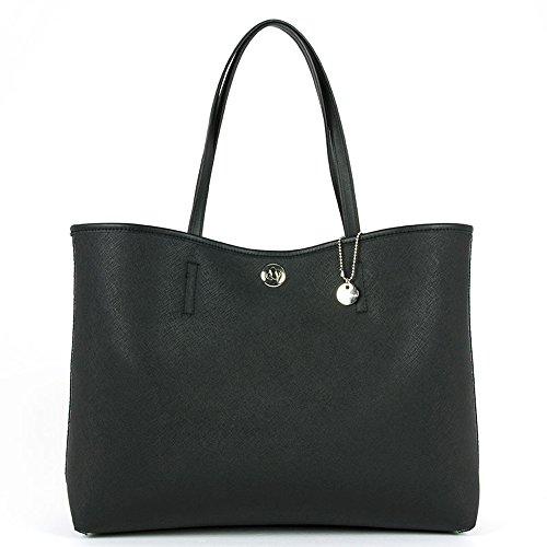 Loristella - Shopping bag reversibile Loristella, tessuto fantasia e tinta unita, made in Italy - Multicolor/Nero - 1957.REV.FANTASY - Multicolor/Ne - UNICA