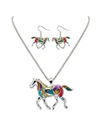 Cute Colorful Enamel Horse Necklace Pendant and Earrings Animal Jewelry Set for Women Girls