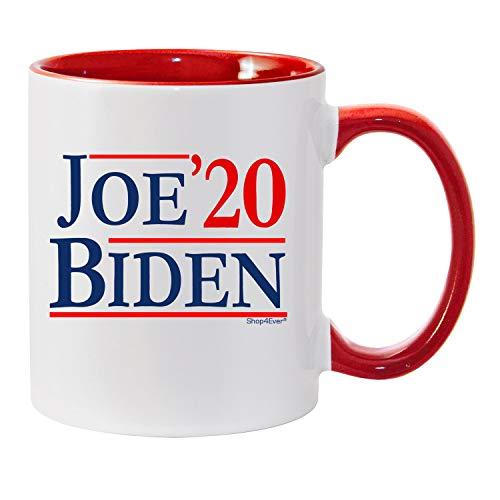 Joe Biden Mug - Shop4Ever Joe Biden '20 Novelty Ceramic Coffee Mug Tea Cup Gift ~ 2020 Presidential Election Vote Democrat ~ (Red Handle)