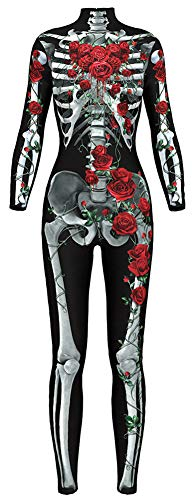 Sister Amy Women's Halloween Skull Skeleton Bodysuit Skinny Stretch Costume Red S -