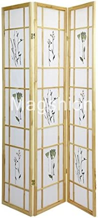 Magshion Oriental Room Divider Curtains Hardwood Panels Screen 3 Panel Small Flowered- Natural
