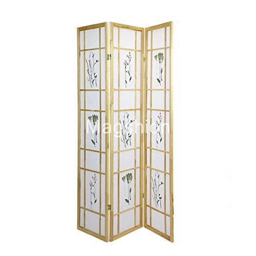 High Quality Oriental Room Divider Hardwood Shoji Screen (Floral Print-Natural, 3-Panel) Oriental Wood Divider