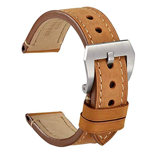 (WOCCI 22mm Watch Band,Light Brown Saddle Style Crazy Horse Leather Watch Strap with Brushed Sliver Buckle)