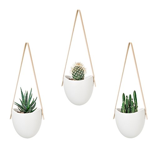 Modern Wall Hanging - Mkono Ceramic Hanging Planter Succulent Air Plant Flower Pot Wall Decor, Set of 3