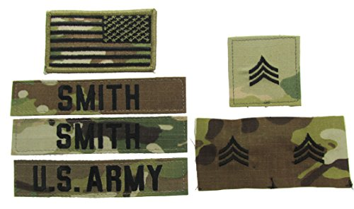Custom OCP Name Tape / Rank Package - U.S. Army Scorpion - E6-SSG (Army Uniform Rank)