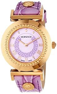 Versace Women's P5Q80D702 S702 Vanity Rose Gold Ion-Plated Stainless Steel Leather Band Watch