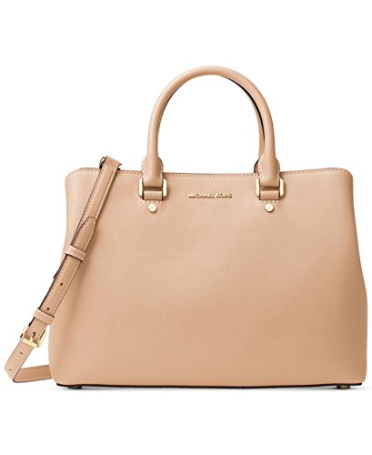 MICHAEL Michael Kors Savannah Large Saffiano Leather Satchel (Oyster) by MICHAEL Michael Kors