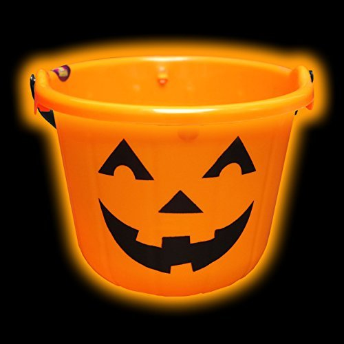 [Flashing Pumpkin Halloween Bucket Trick Or Treat Light Up Kids Pail by Shawshank INC] (Trick Or Treat Costumes For Kids)