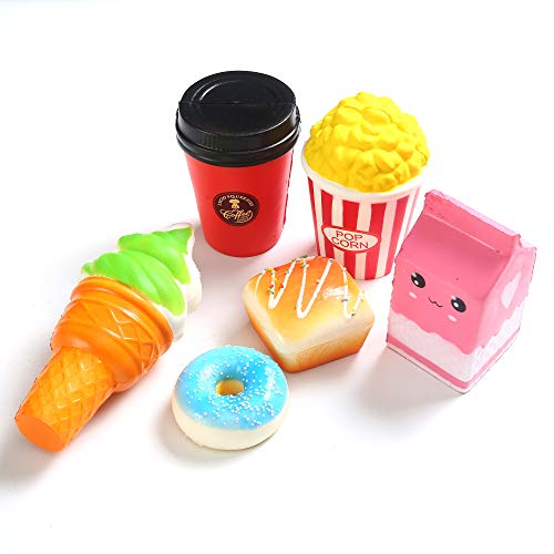 6Pcs Slow Rising squishies Toy Squishy Toys Kawaii Jumbo squishies Coffee Cup Ice Cream, Popcorn,Milk, Donuts, Bread Set ,Slow Rise Squeeze Soft Toy, Scented Squishy Toys,Stress Relief Toys