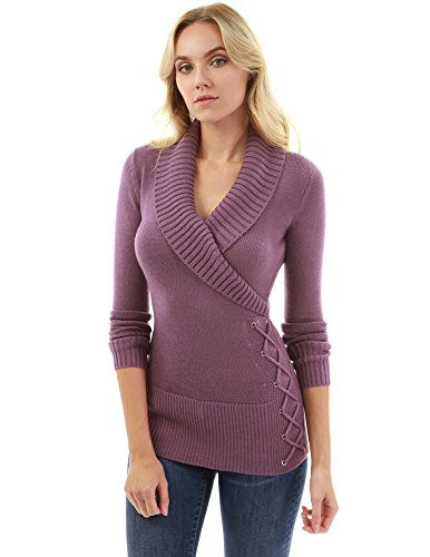 PattyBoutik Women's Shawl Collar Faux Wrap Lace Up Sweater