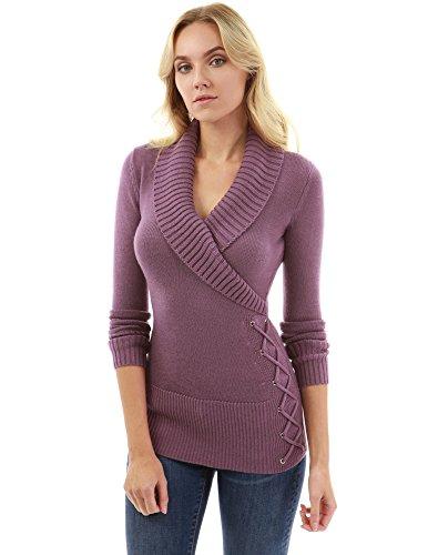 PattyBoutik Women Shawl Collar Faux Wrap Lace Up Sweater (Purple Medium)