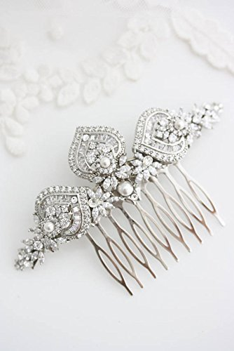 Art Deco Bridal Hair Comb in Crystal and Silver
