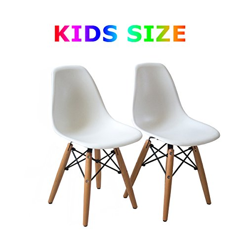 Buschman Set of Two White Kids Dining Room Mid Century Chair Wooden Legs Armless Chairs