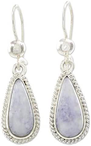 NOVICA Lavender Jade and .925 Sterling Silver Dangle Earrings, 'Lavender Tear'