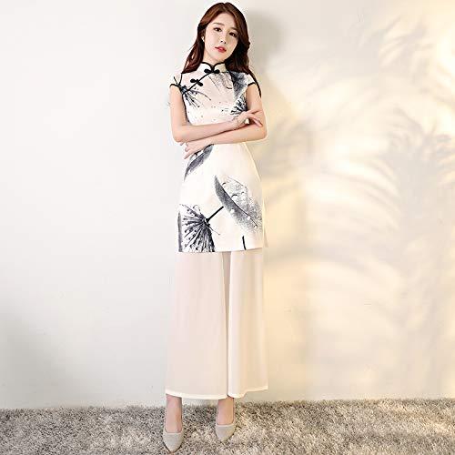 A1 L Qingxi Version améliorée de Cheongsam Long Printemps Nouvelle Fille élégante Cheongsam Daily Robe