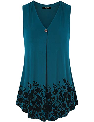 Lotusmile Casual Office Wear for Women, Ladies Summer Sleeveless Swing Tunic Pleated V Neck A Line Floral Print Flowy Tank Tops Blouses with Trendy Wooden Button,Dark Cyan XL