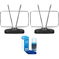 RCA 2-pack ANT111Z Durable HDTV and FM Antenna, Rabbit Ears Design - Energy Star Certified with Xtreme Universal Screen Cleaner (Large Bottle) for LED TVs