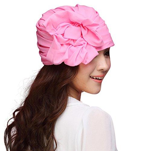 June's Young Chapeau Bonnet Femme en Organza - Voyage/Plage/ Soleil /Mariage /Vacances - Femme /Fille Rose