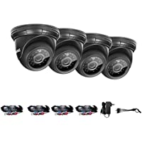 ANNKE 4 pack TVI 720P high clarity Dome Camera, 3.6mm HD lens for Security Camera System, Up to 66ft Night Vision with Smart IR, IP66 Weatherproof Indoor and Outdoor Cameras
