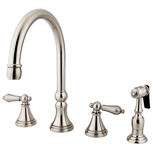 8ALBS Governor Deck Mount Kitchen Faucet with Brass Sprayer, 8-1/4-Inch, Satin Nickel ()