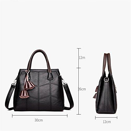 30cmx12cmx26cm bolso pisos de tamaño de mano bolsa solo Penao PU hombro línea Black Bordado tres moda de wfZ8OZ