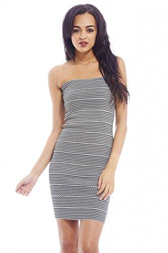 UPC 889020019120, AX Paris Women's Bandage Stripe Sweetheart Dress(Black, Size:8)