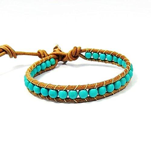 AeraVida Simulated Turquoise Nude Leather Bracelet by AeraVida (Image #6)