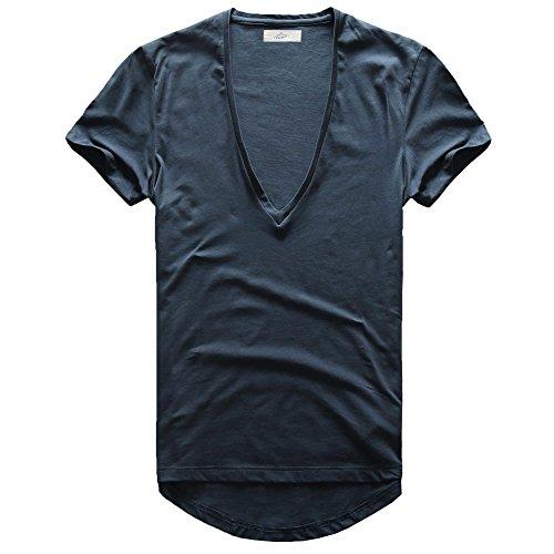 Zecmos Mens Deep V Neck T-Shirt Unisex Tshirt Male Vneck Tee Navy XXXL