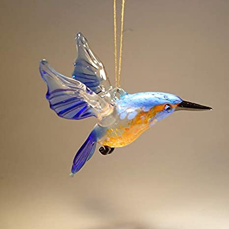 Glass Hanging Kingfisher Ornament Home Kitchen