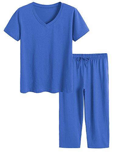 - Latuza Women's Cotton Pajamas Set Tops and Capri Pants Sleepwear XL Royal Blue