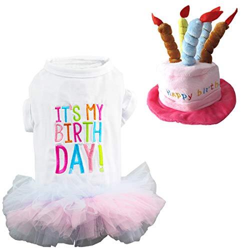 - Wiz BBQT Dog Cat Pet Happy Birthday Hat and It's My Birthday Princess Skirt Tutu Dress Multiple Layers (C)