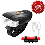 USB Rechargeable Bike Light Set,SCODE Ultra Bright Five Mode Front Light + Four Mode LED Tail Light Set,Easy to Install and Fits On Any Road Bikes