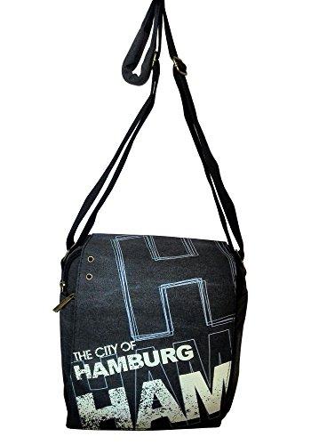 Robin Ruth Canvas kleine Umhängetasche/Überschlagtasche Hamburg in schwarz (Maße: LxHxT 23x23x8 cm)