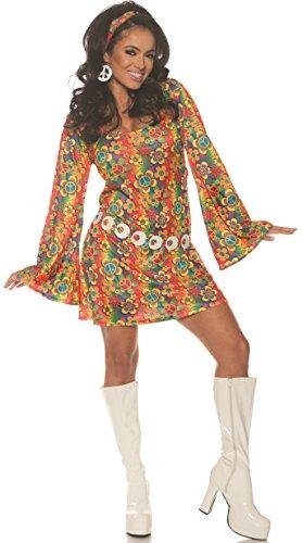 Underwraps Women's 1960s Retro Hippie Costume Dress Set, Multi, Small