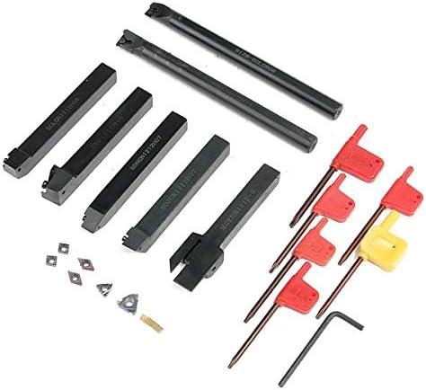 GENERICS LSB-Werkzeuge, 7 STÜCKE DCMT CCMT Hartmetalleinsatz + 7 STÜCKE 12 MM Drehwerkzeughalter Bohrstange + Schraubenschlüssel for Drehwerkzeug