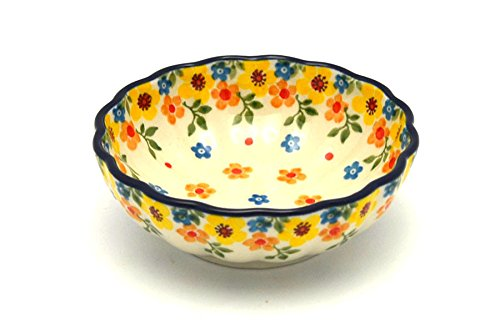 Polish Pottery Bowl - Shallow Scalloped - Small - Buttercup
