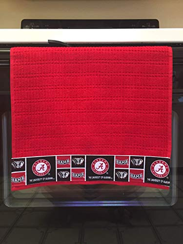 Licensed University of Alabama Kitchen Towel. 16 X 28 inches. 100% Cotton. Machine washable. Red or Black Towel Color Choice Available.