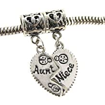 Buckets of Beads 2-Piece Aunt and Niece Heart Dangle Charm Bead