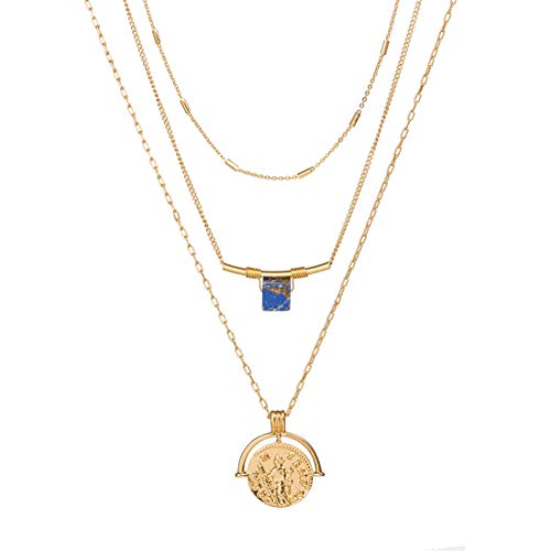 Monade Gold Layered Coin Pendant Adjustable Chain Necklaces/Sea Shell Pendant Chokers Necklaces Jewelry for Women and Girls