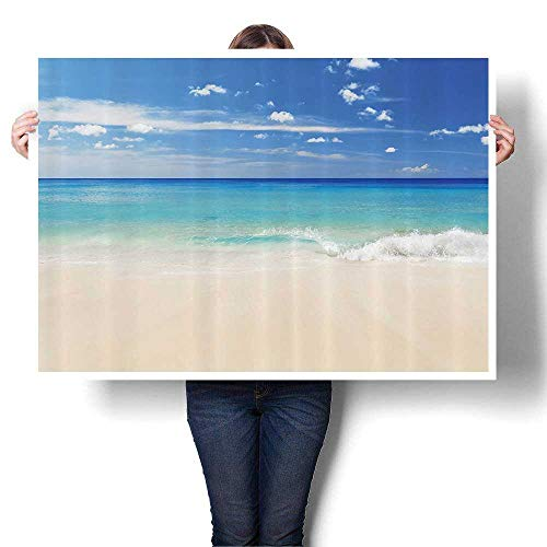 Canvas Wall Art Tropical Haven Style Sandy Shore and Sea with Waves Escape to Paradise Theme Artwork Wall Decor,20