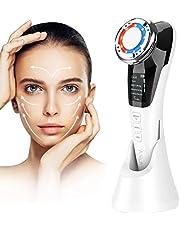 Cosmetisch apparaat rimpelverwijderaar gezichtsmassage met ionen- en fotonfunctie warme/koele behandeling voor gezichtsverzorging anti-rimpel anti-aging (wit-zwart01)